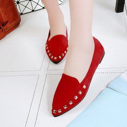 Casual Shallow Mouth Red Flat Shoes S-154RD