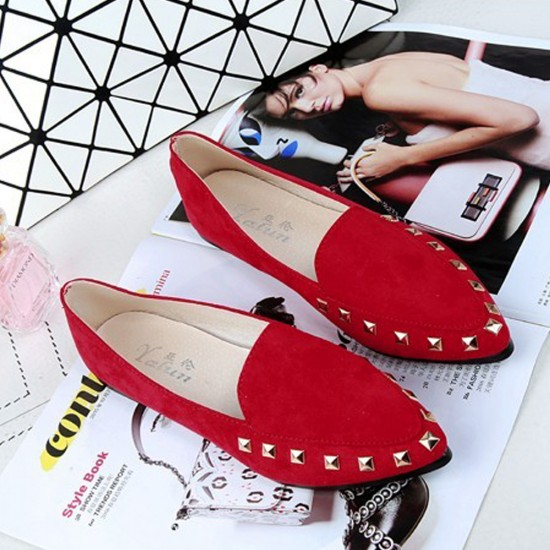 Casual Shallow Mouth Red Flat Shoes S-154RD |image