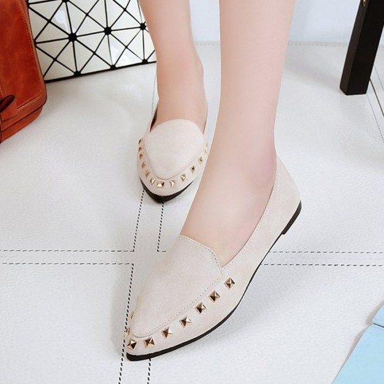 Casual Shallow Mouth Cream Flat Shoes S-154CR |image