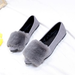 Bow Crystal Party Wear Grey Flat Shoes S-155GR