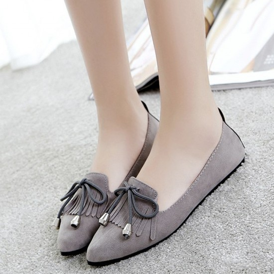 Assorted Tassel Grey Flat Shoes S-156GR |image