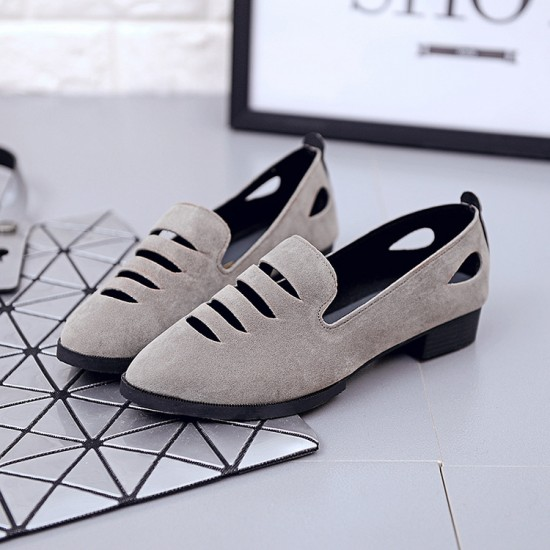 Pointed Toe Oxford Heel Low Heel Grey Shoes S-157GR |image