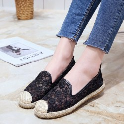 Breathable Slip On Floral lace Shoes S-171BK