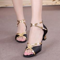 Shining Soft Bottom Latin Black Sandals S-175BK