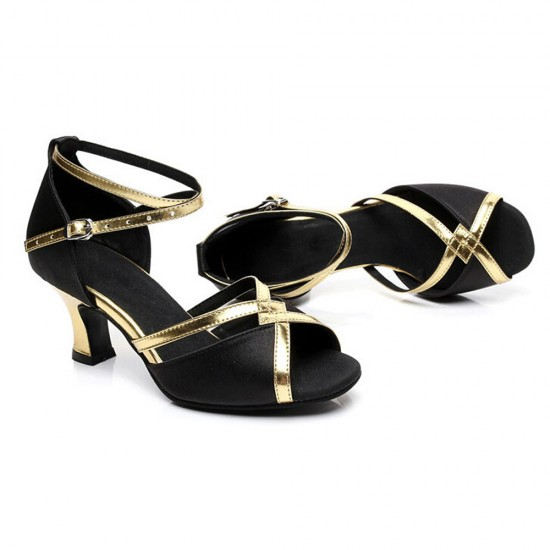 Shining Soft Bottom Latin Black Sandals S-175BK |image