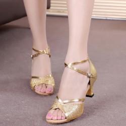 Shining Soft Bottom Latin Gold Sandals S-175G