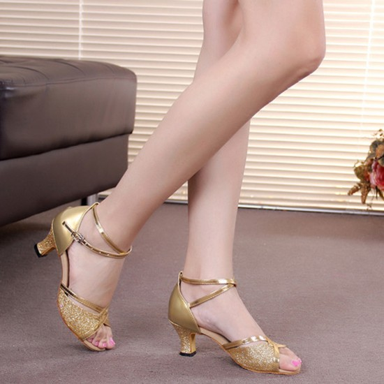Shining Soft Bottom Latin Gold Sandals S-175G |image