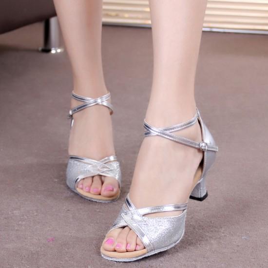 Shining Soft Bottom Latin Silver Sandals S-175S |image