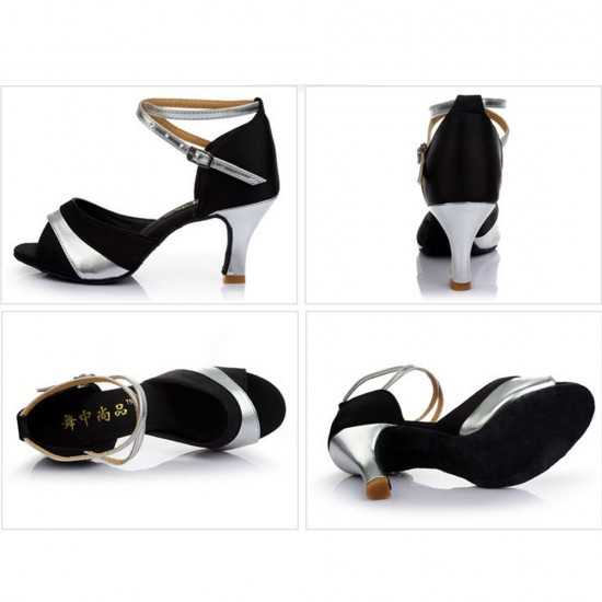 Fish Mouth Satin Latin Silver Sandals S-176S |image