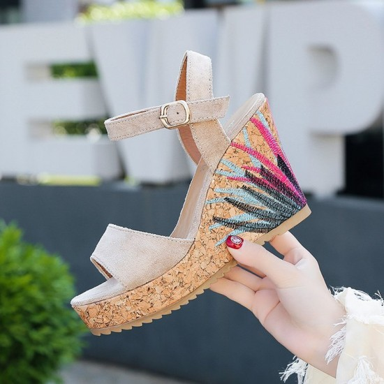 Flower Decorated Grey Wedge Sandals S-173GR |image