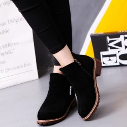 Casual Leather Round Head Black Boots S-152BK
