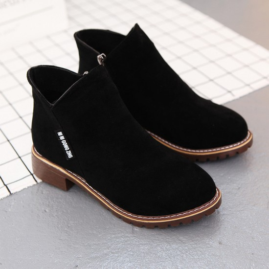Casual Leather Round Head Black Boots S-152BK |image