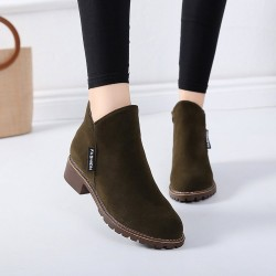 Casual Leather Round Head Green Boots S-152GN