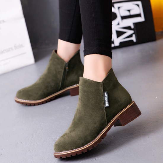Casual Leather Round Head Green Boots S-152GN |image