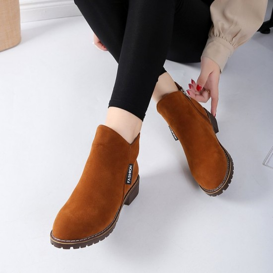 Casual Leather Round Head Brown Boots S-152BR |image