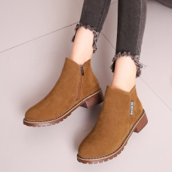 Casual Leather Round Head Brown Boots S-152BR