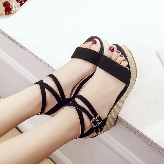 Lolittas Black Slope Wedge Sandals S-173BK |image
