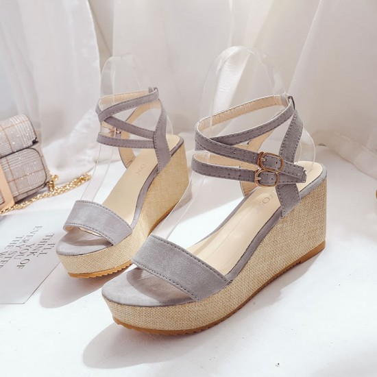 Lolittas Grey Slope Wedge Sandals S-172GR |image