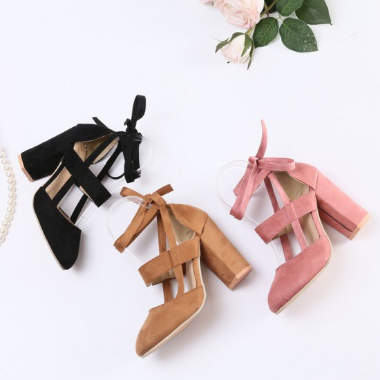 Chunky Ankle Strappy Black High Heels Sandals S-170BK |image