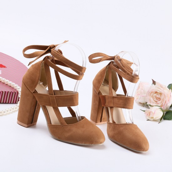 Chunky Ankle Strappy Brown High Heels Sandals S-170BR |image