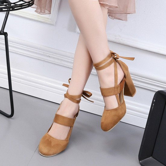 Chunky Ankle Strappy Brown High Heels S-170BR | Image