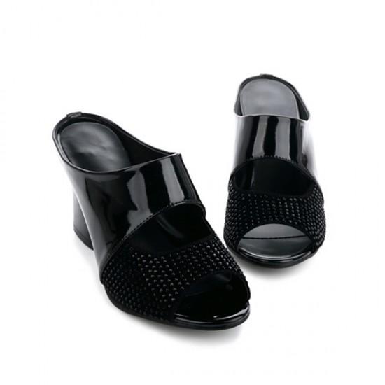 Genuine Leather Black High Heeled Slippers S-167BK |image