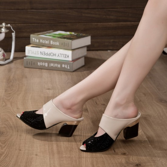 Genuine Leather Cream High Heeled Slippers S-167CR |image