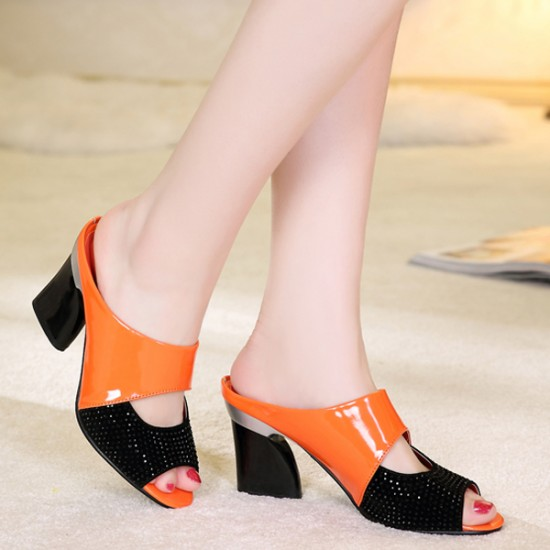 Genuine Leather Orange High Heeled Slippers S-167OR |image