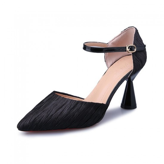Mid High Heels Pointed Toe Black Casual Sandals S-166BK  image
