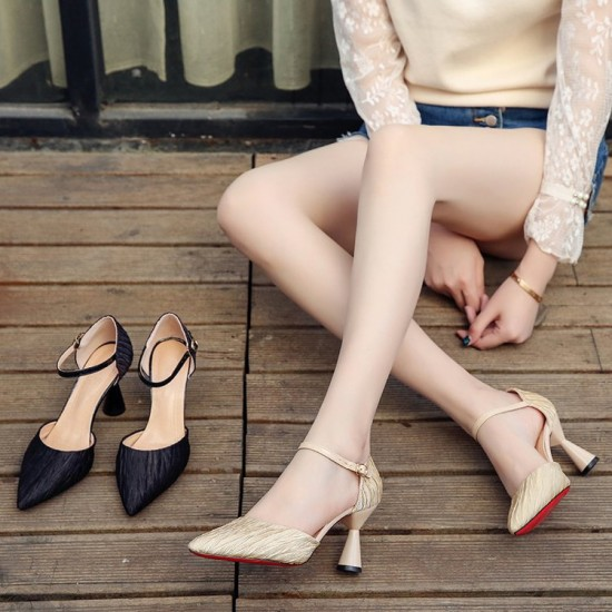 Mid High Heels Pointed Toe Beige Casual Sandals S-166BG |image