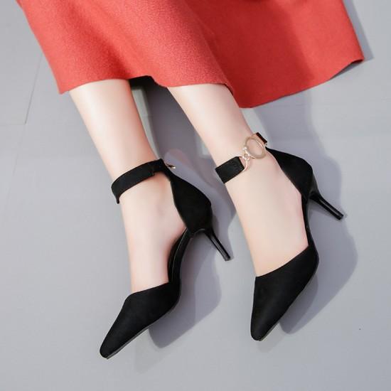 Heel Pointed Toe Suede Black Sandals S-165BK |image