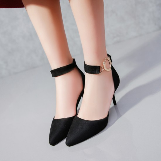 High Pointed Toe Suede Black Heels S-165BK |image