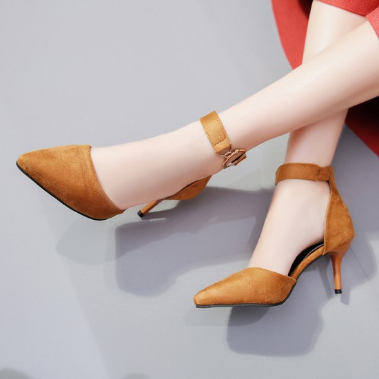 High Pointed Toe Suede Brown Heels S-165BR |image
