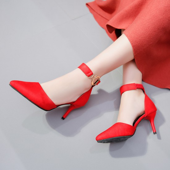 Heel Pointed Toe Suede Red Sandals S-165RD |image