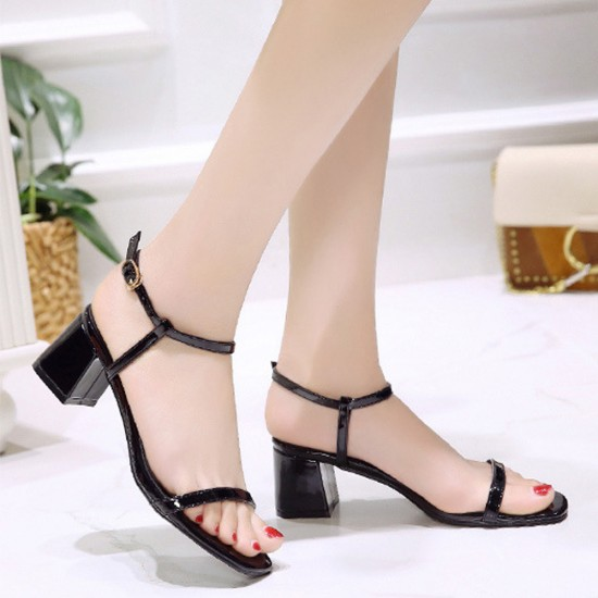 Women One Word Buckle Black Flat sandal S-164BK |image