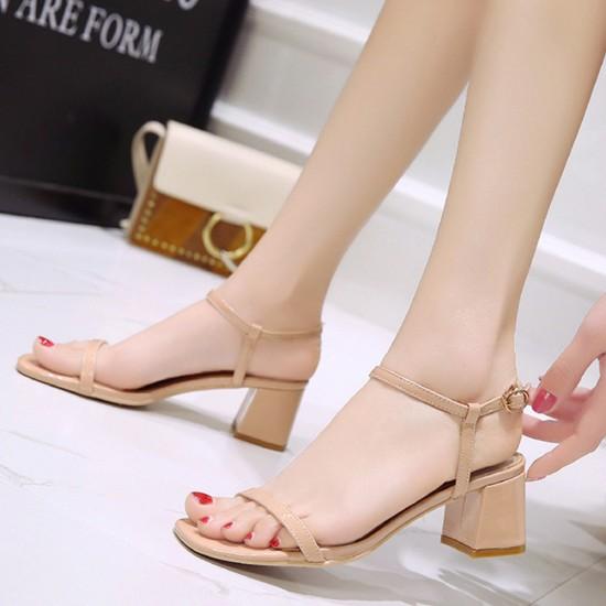 Women One Word Buckle Beige Flat sandal S-164BG |image