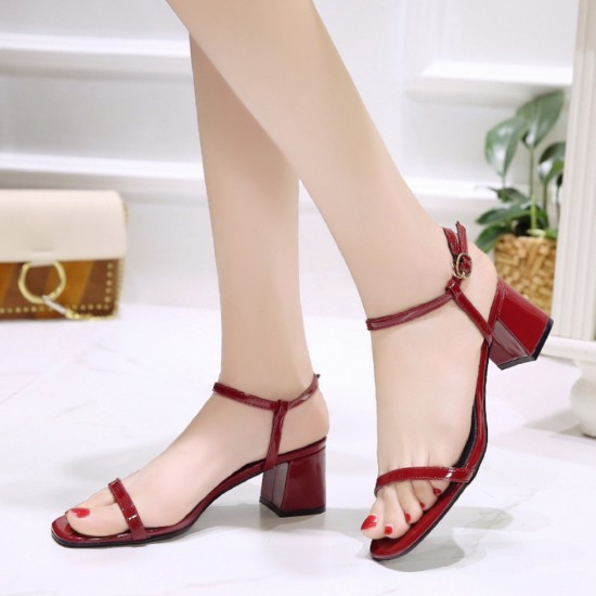 Women One Word Buckle Red Flat sandal S-164RD |image
