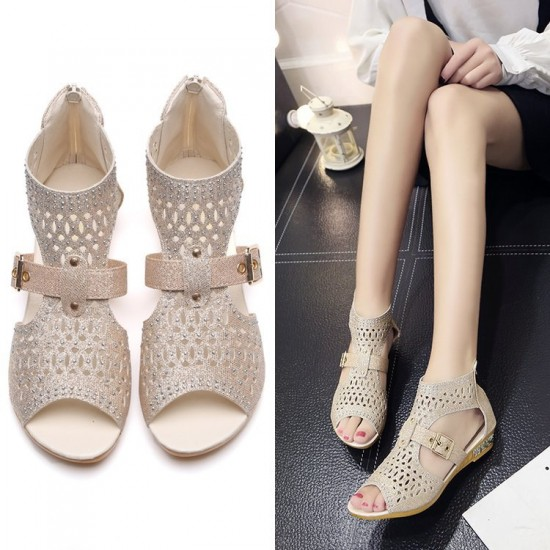 Rhinestone Fish Mouth Beige Flat Sandals S-159BG |image