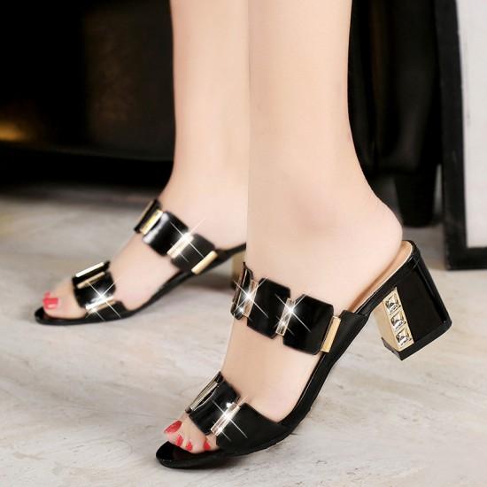 Women High Heel Shining Black Slippers S-141BK |image