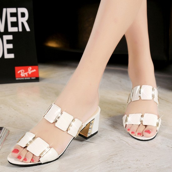 Women High Heel Shining White Slippers S-141W |image