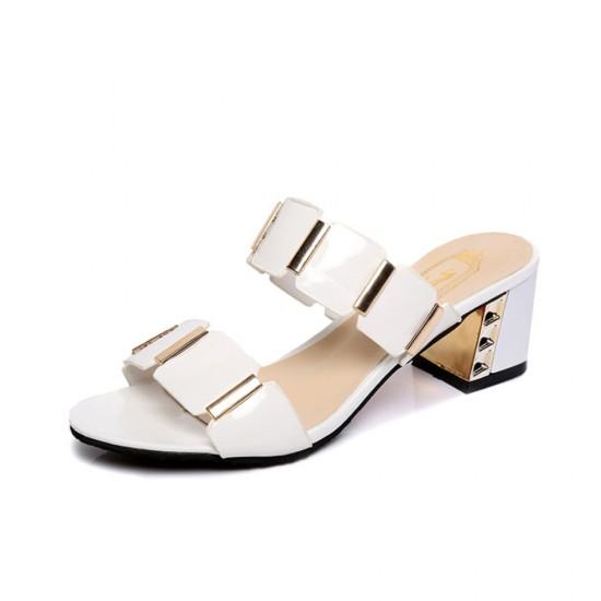 Women High Heel Shining White Slippers S-141W  image