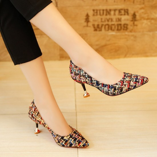 Patchwork Multicolor Pointed Style Heel Shoes S-145BR |image