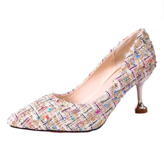 Patchwork Multicolor Pointed Style Heel Shoes S-145CR |image