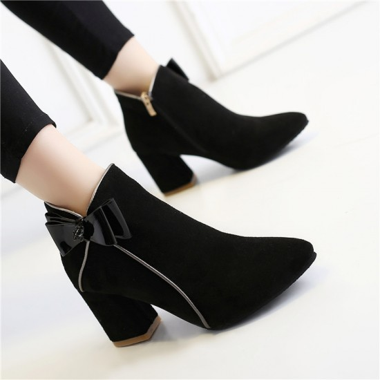 New Ladies Short Tube Thick Black Boots S-149BK |image
