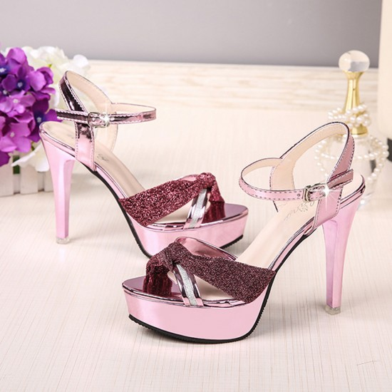 Cross Border High Heel Pink Shining Sandals S-162PK |image