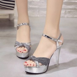 Cross Border High Heel Silver Shining Sandals S-162S