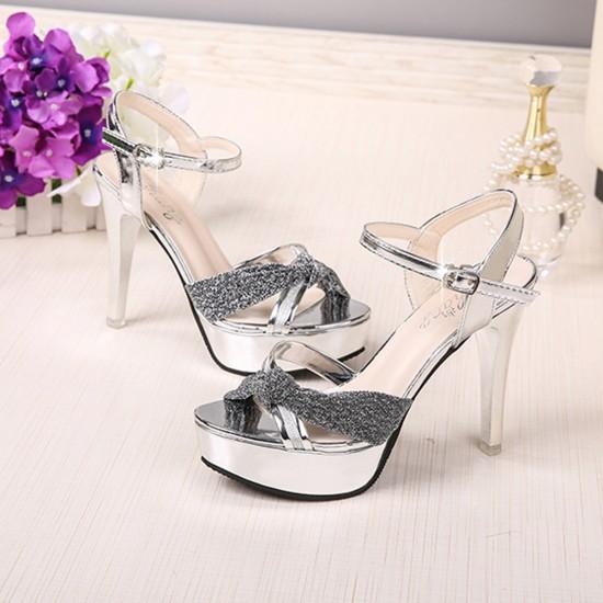 Cross Border High Heel Silver Shining Sandals S-162S |image