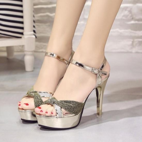 Cross Border High Heel Gold Shining Sandals S-162G |image