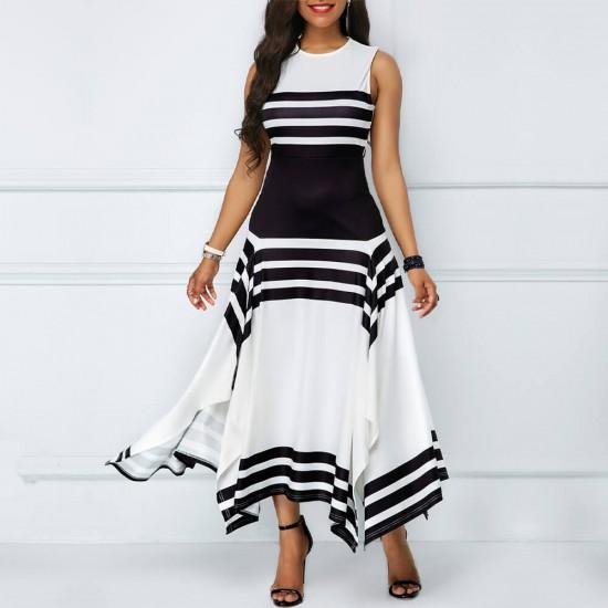 Asymmetric Printed Contrast Irregular Maxi Dress WC-297 |image