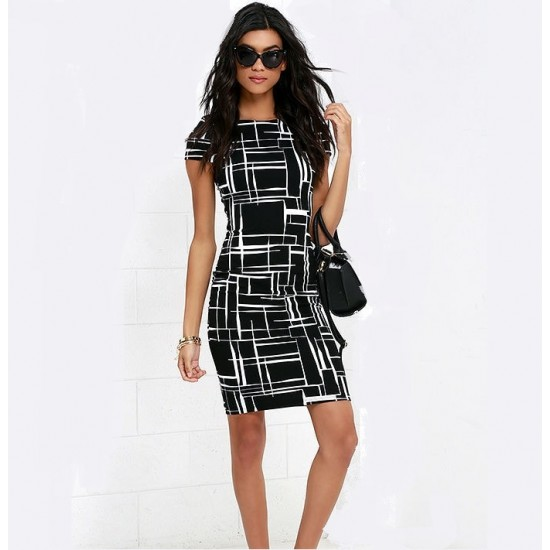Black and White Print Pencil Dress WC-299BK |image